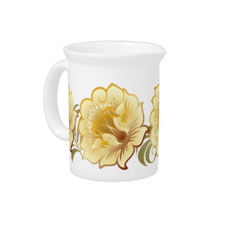 Abstract Large Yellow-Gold Flowers & Green Leaves Pitcher