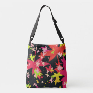 Abstract Leaf allover print crossbody bag and tote