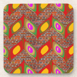 Abstract leaf design on brick wall goodluck gifts beverage coaster