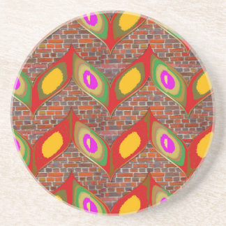 Abstract leaf design on brick wall goodluck gifts coaster
