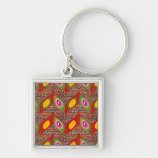Abstract leaf design on brick wall goodluck gifts keychain