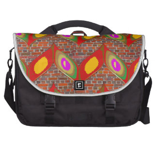 Abstract leaf design on brick wall goodluck gifts commuter bags