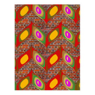 Abstract leaf design on brick wall goodluck gifts postcard