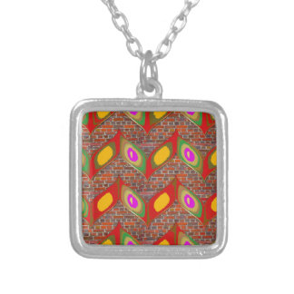 Abstract leaf design on brick wall goodluck gifts silver plated necklace