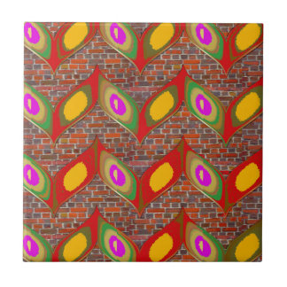 Abstract leaf design on brick wall goodluck gifts tile