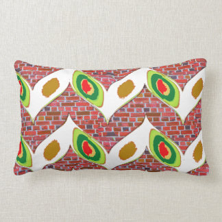 Abstract Leaf design on brickwall pattern pod gift Lumbar Pillow