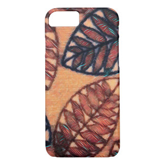 Abstract Leaf Pattern iPhone Case In Earth Colors