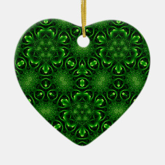 Abstract leaf pattern Double-Sided heart ceramic christmas ornament