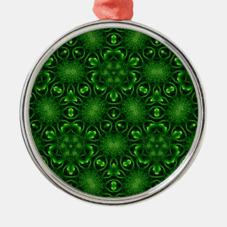 Abstract leaf pattern round metal christmas ornament