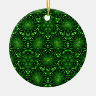 Abstract leaf pattern Double-Sided ceramic round christmas ornament