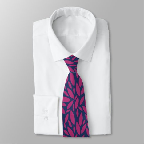 Abstract leaf shapes blue and magento tie