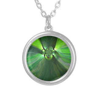 Abstract leafy fox art round pendant necklace