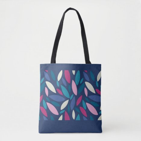 Abstract leaves falling pink blue cream tote bag