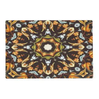 abstract leaves pattern orange brown autumn fall placemat
