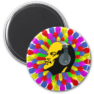 Abstract Lenin Head in Star Circle 2 Inch Round Magnet