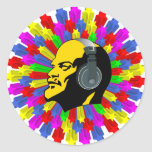 Abstract Lenin Head in Star Circle Classic Round Sticker