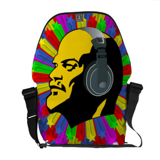 Abstract Lenin Head in Star Circle Courier Bag