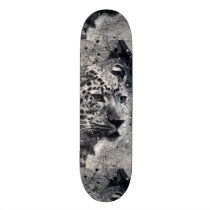 Abstract Leopard Wild Animal Black and White Skateboard Deck