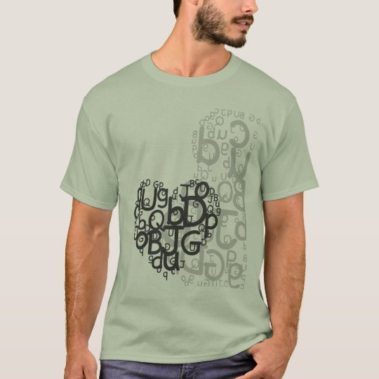 Abstract lettered heart T-Shirt
