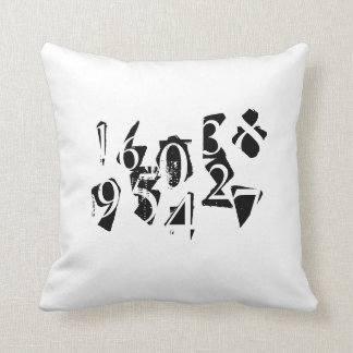Abstract Letters and Numbers Pillowcase Throw Pillow