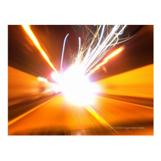 Abstract light beams and effects postcard