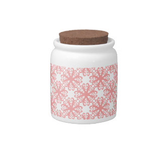 Abstract Light Coral Flower Sugar / Candy Jar