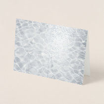 Abstract Light Reflections On Silver Water Foil Card