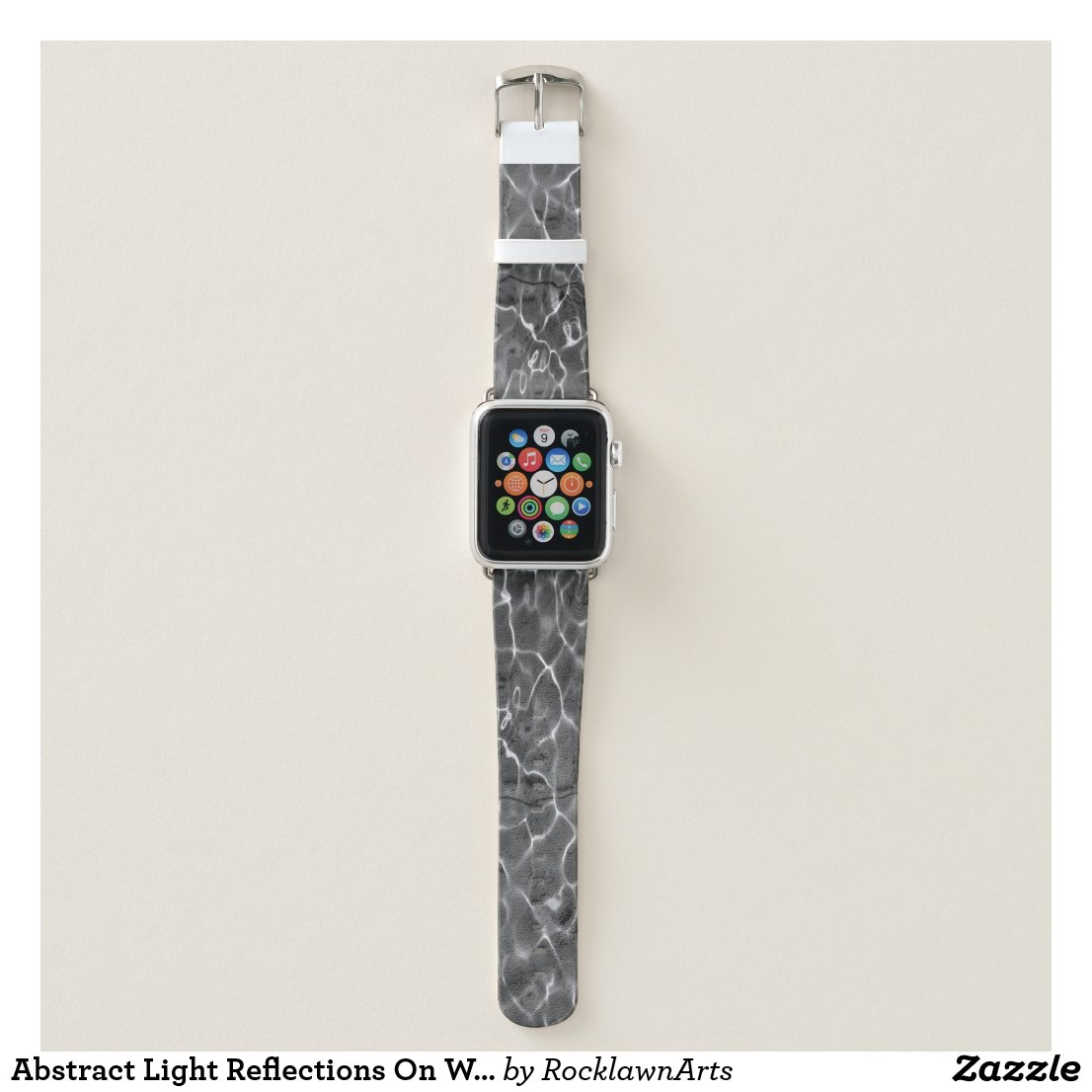 Abstract Light Reflections On Water: Black & White Apple Watch Band