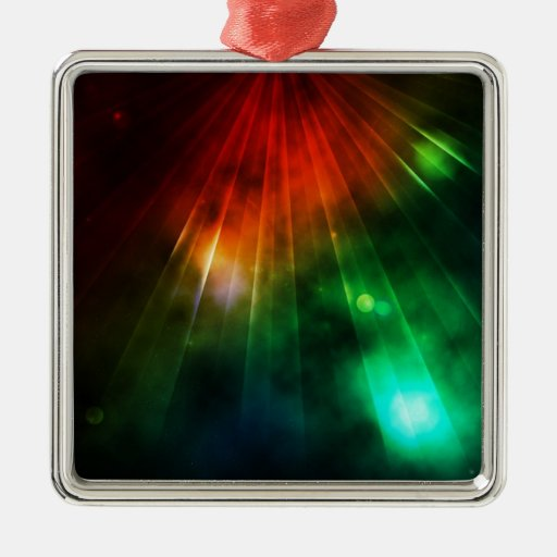 Abstract Light Shines Down from Above Square Metal Christmas Ornament