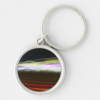 Abstract Light Trails Silver-Colored Round Keychain