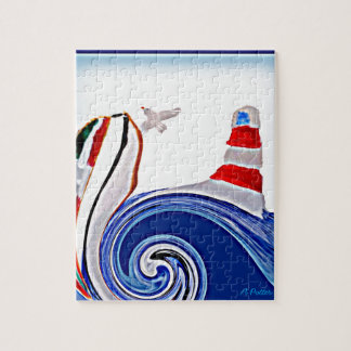 Abstract Lighthouse Boat on stormy seas Jigsaw Puzzle