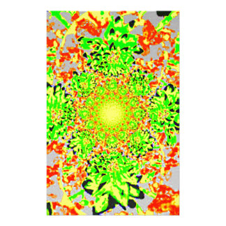Abstract Lime Green  Floral Dahlia Flower Pattern Stationery