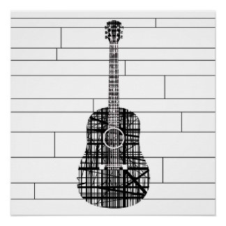Abstract Line Guitar Poster