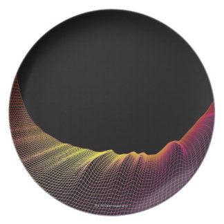 Abstract Line Pattern Melamine Plate