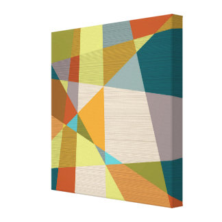 Abstract Line Pattern with Retro Colors Gallery Wrapped Canvas