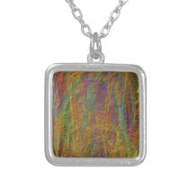 Abstract Linear Textured Pattern Silver Plated Necklace