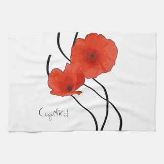 Abstract linen of kitchen Poppies Hand Towel