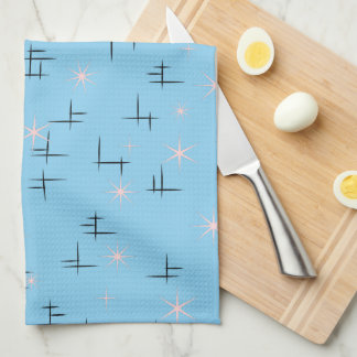 Abstract Lines and Pink Stars Baby Blue Retro Hand Towel