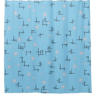 Abstract Lines and Retro Stars Shower Curtain