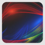 Abstract lines and waves energy pattern square sticker