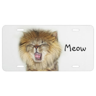 Abstract lion kitty license plate