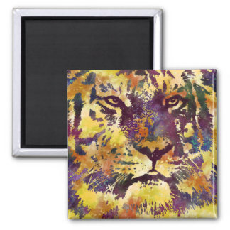 Abstract Lion Paintng 2 Inch Square Magnet