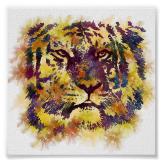 Abstract Lion Paintng Poster