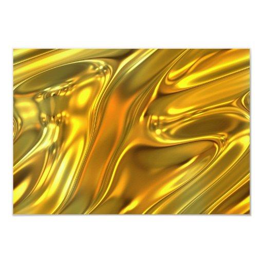Abstract Liquid Gold 3.5x5 Paper Invitation Card