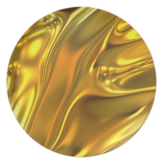 Abstract Liquid Gold Dinner Plate