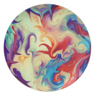 Abstract Liquid Paint Texture Dinner Plate