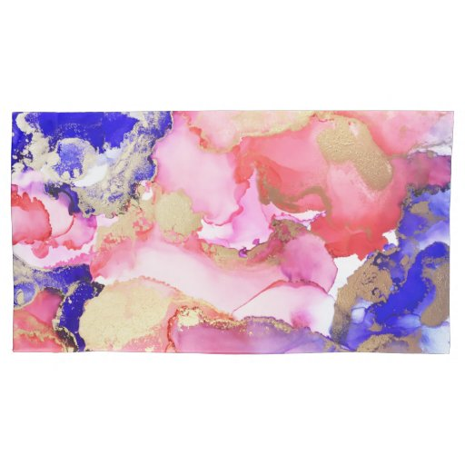 Abstract Liquid Purple Pink Gold Metallic Pillow Case