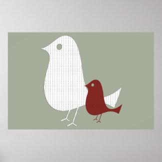 Abstract Little Bird Baby Nursery Poster