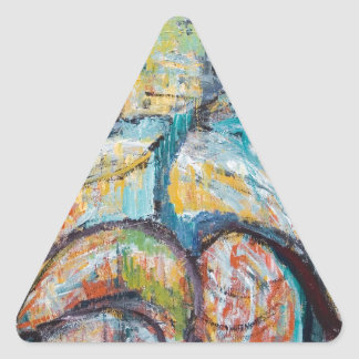 Abstract Living Fossils (abstract expressionism) Triangle Sticker