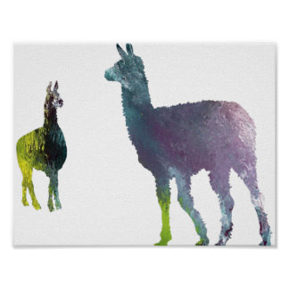 Abstract Llama silhouette Poster